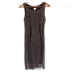"""Elegant CACHE Black Dress Stretchy Round Neck """"XS"""""""
